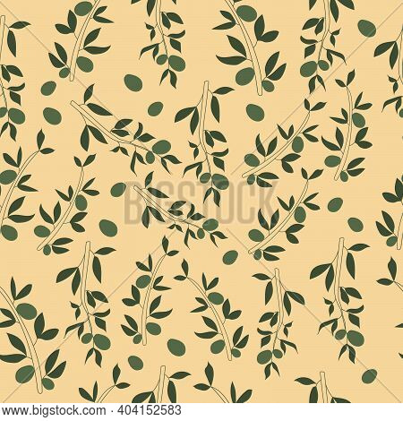 Vector Seamless Pattern With Hand Drawn Olive Branches And Leaves. Olive Tree. Vintage Olive Backgro