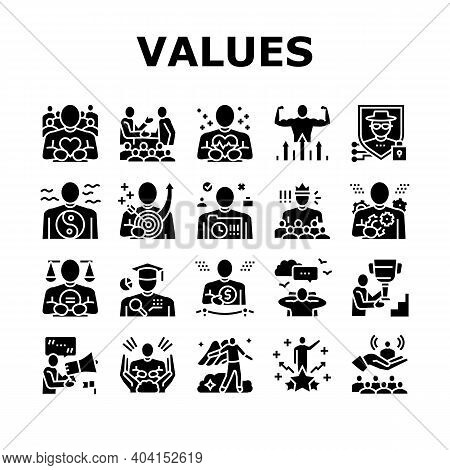 Values Human Life Collection Icons Set Vector. Love And Friendship, Health And Strength, Safety And