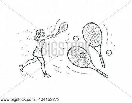 Woman Tennis Player With Racquet On White Background. Sport Concept. Black Line Isolated On White.