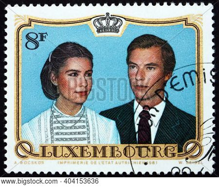 Luxembourg - Circa 1981: A Stamp Printed In Luxembourg Dedicated To Wedding Of Prince Henri And Mari
