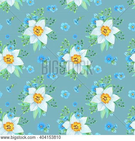 Watercolor Illustration With Forget-me-nots, Myosotis, Daffodil On A Gray Background