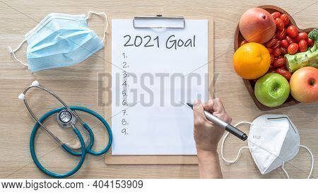 2021 New Year Goals In New Normal Lifestyle, Work-life Balance With Face Mask Safety From Covid-19,