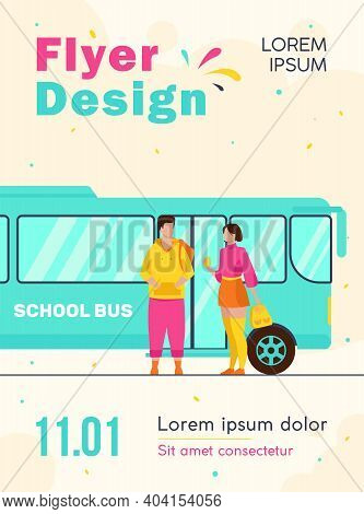 Teen Couple Standing At School Bus. School Students, Boy And Girl Talking Flat Vector Illustration.