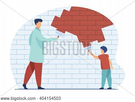 Dad And Kid Painting Wall. Father And Son Renovating Or Decorating Apartment. Flat Vector Illustrati