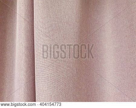 Red Cotton Curtains, Blackout Curtains. Close-up, Horizontal Photo