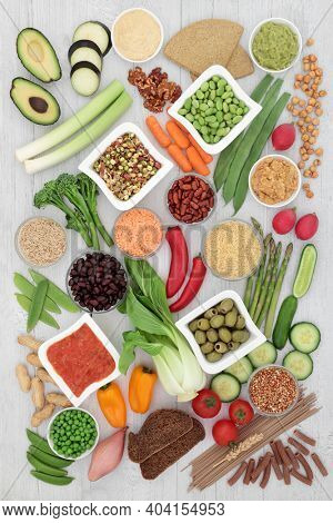 Low glycemic diabetic health food for vegans with foods all below 55 on the GI index and high in protein,  antioxidants, omega 3, anthocyanins, vitamins and minerals. Health care concept.