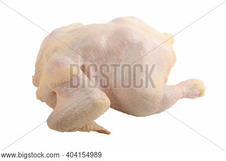 Raw Chicken Carcass Or Broiler Chicken. Isolated On A White Background. Cutting Off The Path.