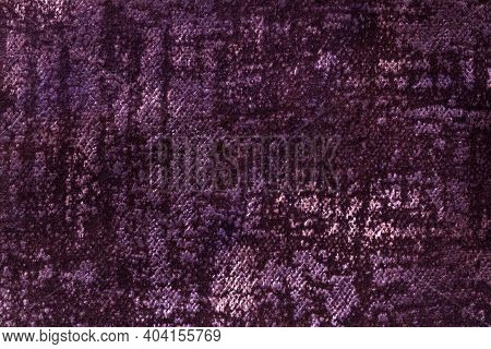 Dark Purple And Violet Fluffy Background Of Soft, Fleecy Fabric. Texture Of Wine Textile Backdrop Wi