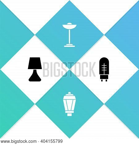 Set Table Lamp, Garden Light, Floor And Light Emitting Diode Icon. Vector