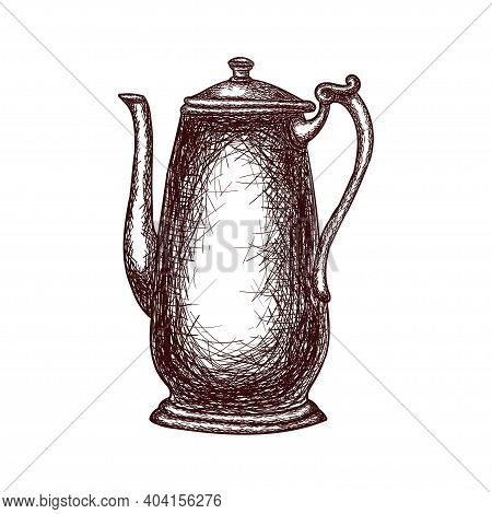 Vintage Teapot Outline Drawing Isolated On White Background, Stock Vector Illustration For Design An