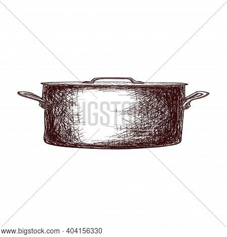 Sketch Of A Saucepan With A Lid Contour Drawing Isolated On White Background, Stock Vector Illustrat