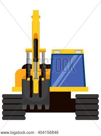 Excavator Front View. Special Machinery In Cartoon Style.