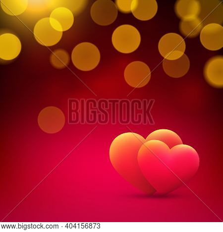 Valentines Day Card, Red Gold Hearts On Red Background With Gold Bokeh. Happy Valentine Day Banner.