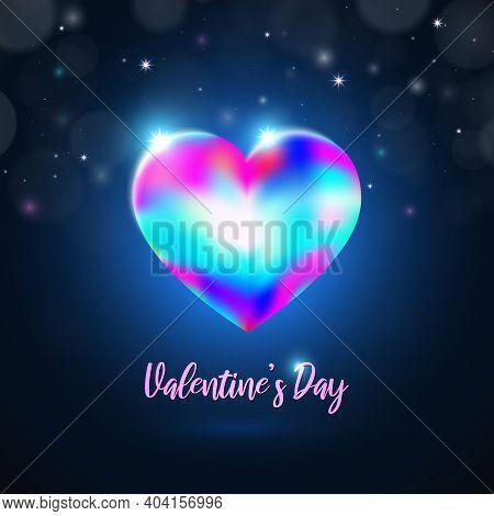 Valentine's Day Lgbt Card. Rainbow Shining Crystal Heart On Dark Blue Background With Bokeh, Stars.