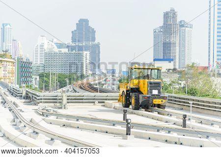 Bangkok,thailand - 19 Decemmber, 2020: Manternance Car Of Electric Train Golden Line Rail Way Bts Sk