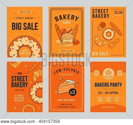 Bakery Sale Invitation Cards Set With Baking. Pastry And Bread Vector Illustrations With Text, Time