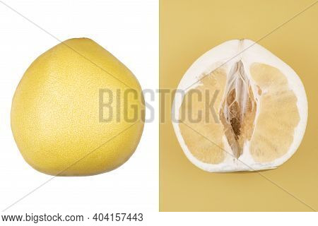 Collage Of Yellow Fresh Pomelo On A White Background Cut In Half Pomelo On A Yellow Background, Clos