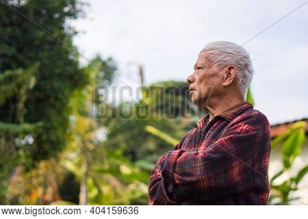 Portrait Of Elderly Man Arms Crossed And Looking Up While Standing In A Garden. Space For Text. Conc
