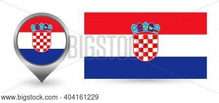 Vector Flag Croatia. Location Point With Flag Croatia Inside
