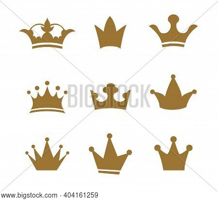 Set Golden Sign Crown. Design Modern Logos Queen Crown For Business.