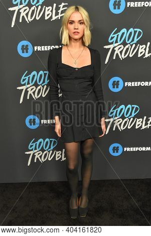 LOS ANGELES - JAN 08:  Actress Maia Mitchell arrives for Freeform's