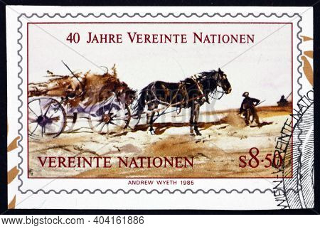 United Nations - Circa 1985: A Stamp Printed In The United Nations, Offices In Vienna Shows Alvaro R