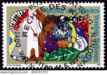 United Nations - Circa 1991: A Stamp Printed In The United Nations, Offices In Vienna Shows Child, C