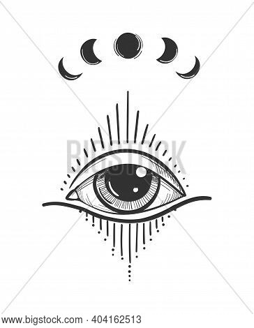 Vintage Tattoo With Luminous All-seeing Eye, Mystical Symbol, Boho Design. Hand Drawing Isolated On