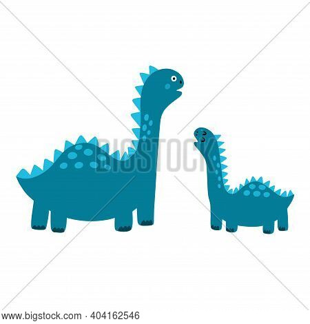 Cute Mother And Baby Dinosaurs Print. Funny Tyrannosaurus Rex Dino Family Clipart