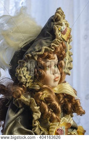 A Beautiful Vintage Style Doll In Close-up. Realistic Doll In Exquisite Clothing. Hobbies, Toys, Col