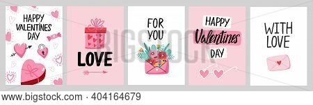Valentine`s Day Card Set With Hand Draw Lettering And Cute Elements. Cards, Posters, Brochures. Idea