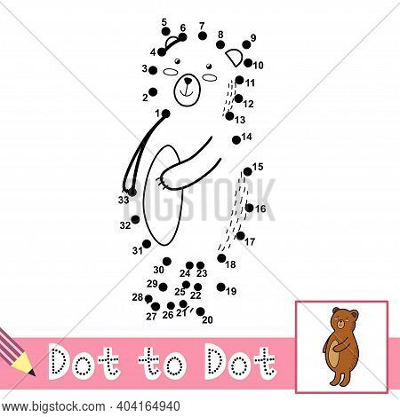 Dot To Dot Numbers Game With Cute Bear. Connect The Dots Activity Page For Kids