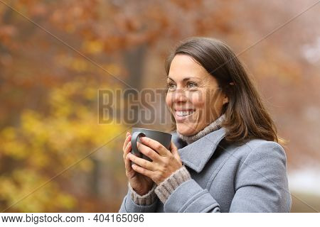 Happy Woman Drinking Coffee Looking Away In Winter Outside In A Park