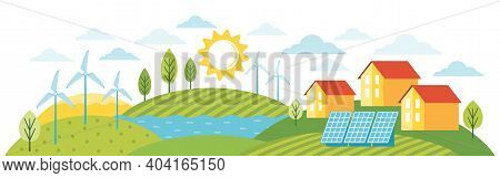 Green Energy An Eco Friendly Modern House. Eco City Using Alternative Energy. Modern Environmentally