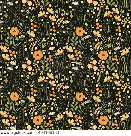 Blooming Summer Meadow Seamless Pattern. Repeating Floral Pattern On Dark Background. Lot Of Differe
