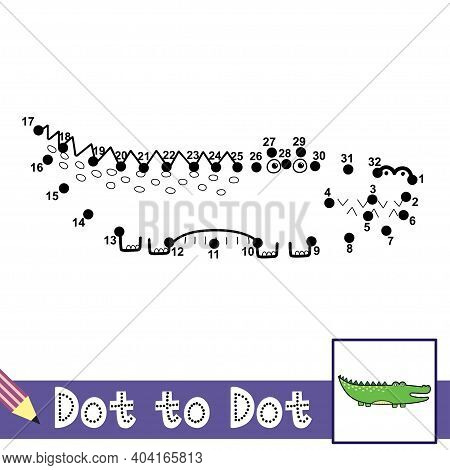 Dot To Dot Numbers Game With Cute Alligator. Connect The Dots Activity Page For Kids