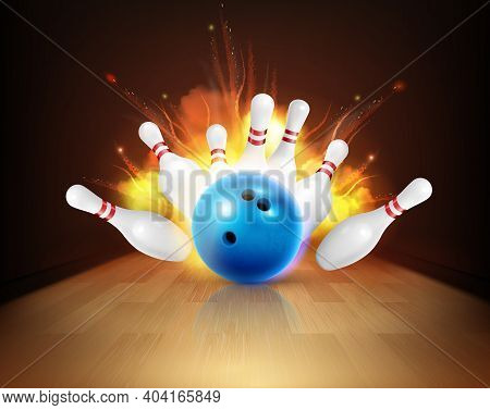Bowling Realistic Fire Composition With View Of Lane With Ball And Pins Under Strike With Flame Vect