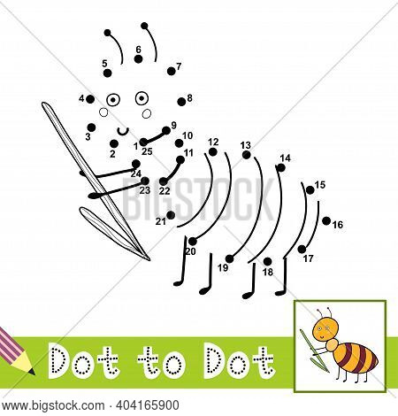 Dot To Dot Numbers Game With Cute Ant. Connect The Dots Activity Page For Kids