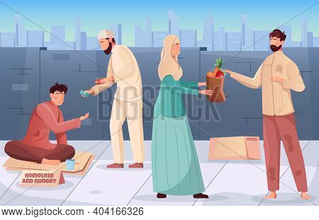 Flat Ramadan Charity Background With Muslim People Giving Money And Food To Hungry And Homeless Vect