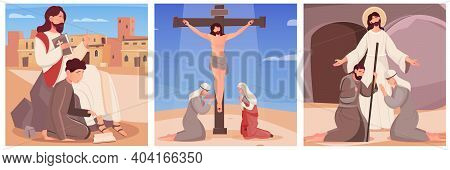 Jesus Christ With Bible His Crucifixion And Resurrection Flat Compositions Set Isolated Vector Illus