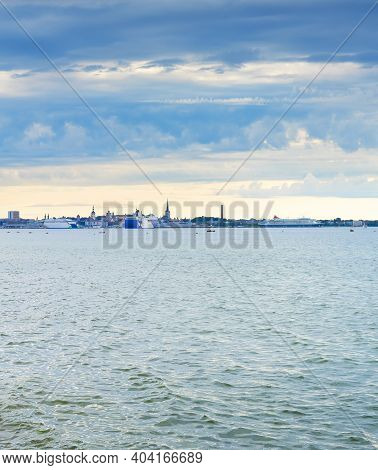 View Skyline Of Tallinn With Seaview. Estonia