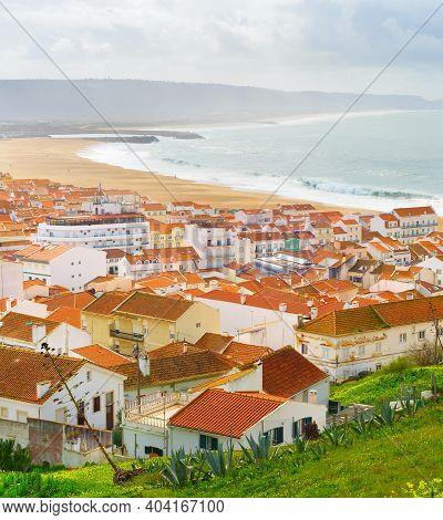 Skyline Of Nazare - Famous Tourist Destination. Portugal