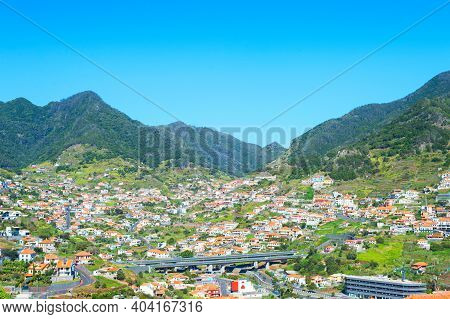 Overview Of Maderia Village In A Bright Sunny Day. Madeira Island, Portugal