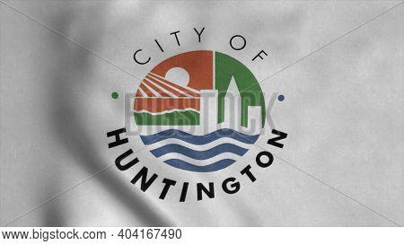 Huntington City, West Virginia Flag, Waving In Wind. 3d Illustration.