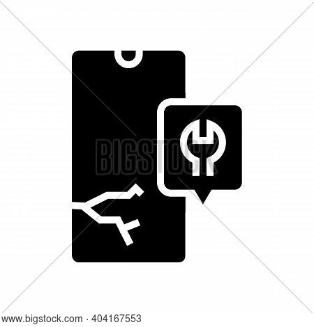 Crashed Phone Screen Repair Glyph Icon Vector. Crashed Phone Screen Repair Sign. Isolated Contour Sy