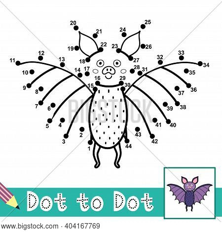 Dot To Dot Numbers Game With A Cute Bat. Connect The Dots Activity Page For Kids