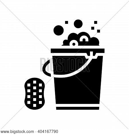Sponge And Bucket With Water Glyph Icon Vector. Sponge And Bucket With Water Sign. Isolated Contour