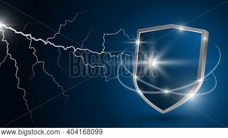 Glowing Lightning Strikes The Shield. Protection Against Electrical Discharge. Concept Of Reliable P