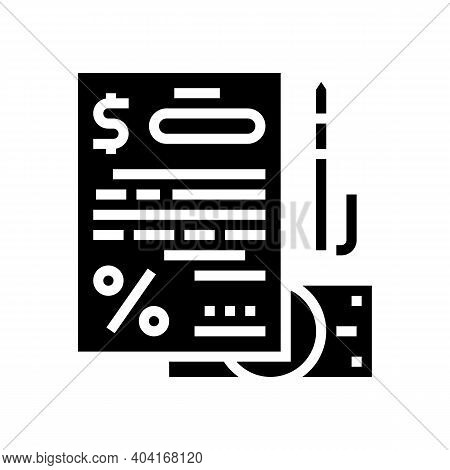 Financial Agreement For Getting Loan Glyph Icon Vector. Financial Agreement For Getting Loan Sign. I