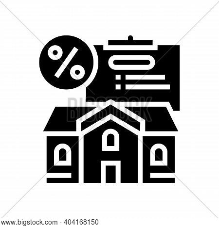 Mortgage For Buy House Glyph Icon Vector. Mortgage For Buy House Sign. Isolated Contour Symbol Black